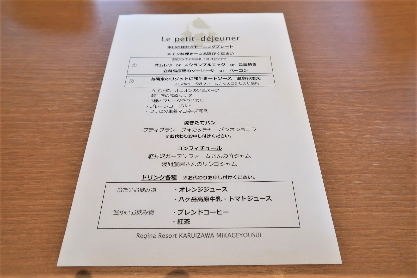 軽井沢モーニングプレートのメニュー